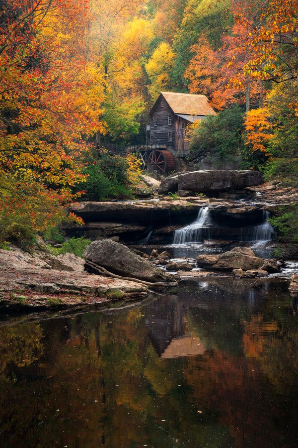 Superieur Grist Mill By Porbital Babcock State Park West Virginia Cabin Woods River  Forest Autumn Fall River