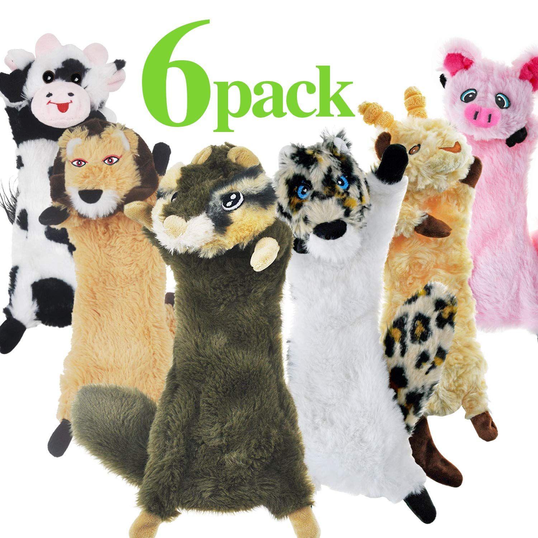 Sharlovy Dog Squeaky Toys No Stuffing 6 Pack Dog Toys Crinkle Dog
