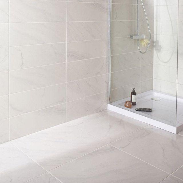 Carrelage mural blanc marbre 20 x 60,4 cm Iceberg - CASTORAMA - image carrelage salle de bain