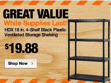 Home Depot HDX 4 Shelf Black Plastic Ventilated Storage Shelving Unit ONLY  $19.88 Free Store