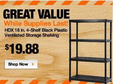 Home Depot HDX 4 Shelf Black Plastic Ventilated Storage Shelving Unit ONLY  $19.88 Free Store