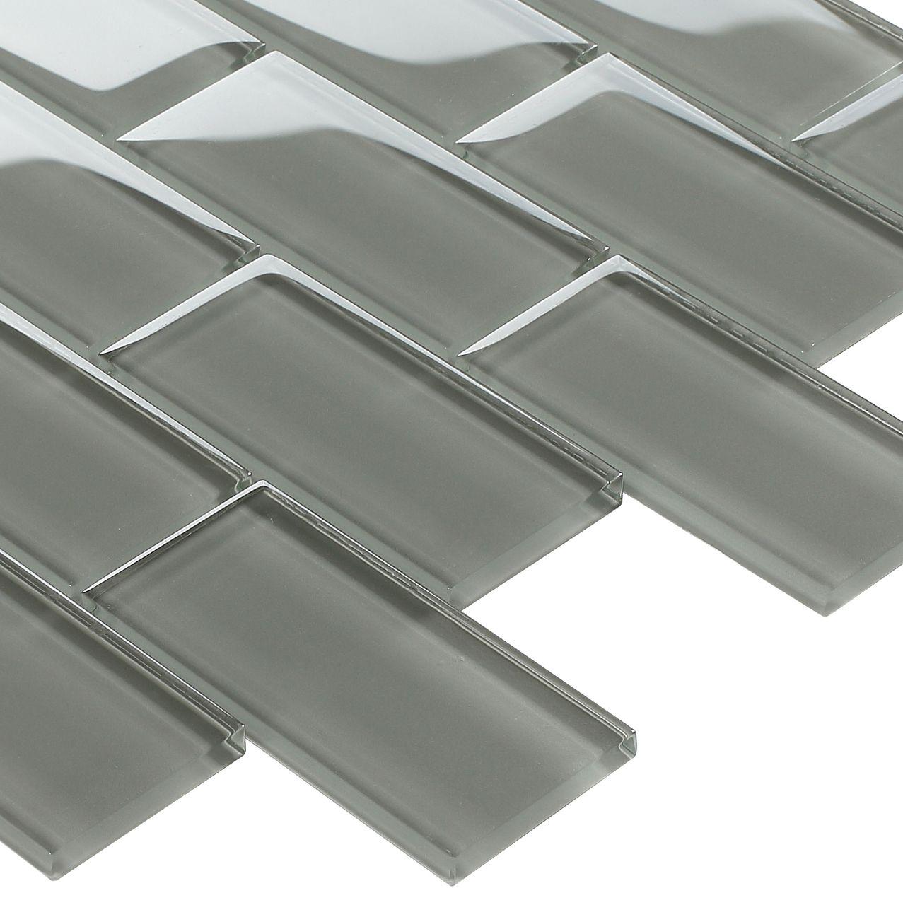 Subway Glass Tile Smoke Grey 2x4 Bathroom Wallsmall