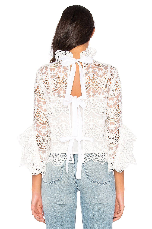 Endless Rose Ribbon Ties Crochet Lace Top en Blanco crudo ...