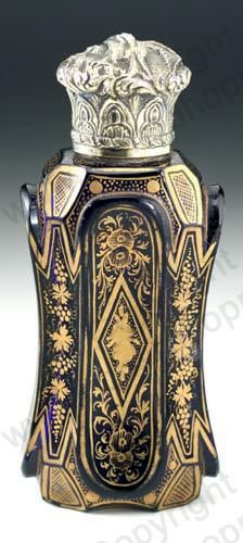 Antique Sampson Mordan scent perfume bottle. Hand gilded amethyst glass, embossed silver top, London 1870. To visit my website click here: http://www.richardhoppe.co.uk or for help or information email us here: info@richardhoppe.co.uk