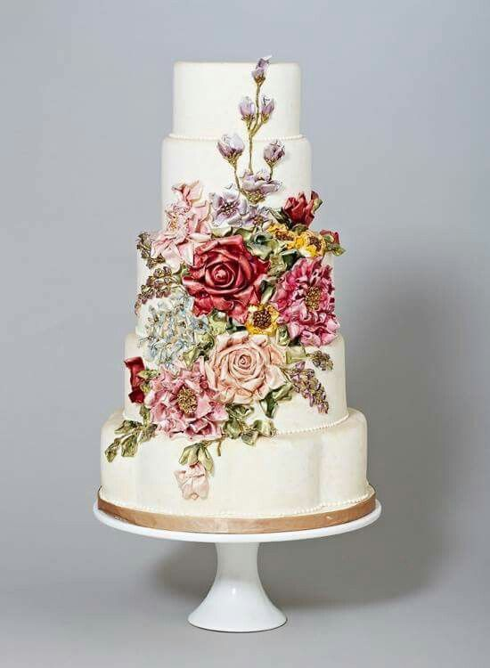 Vintage Flower Wedding Cake