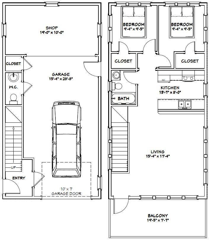 20x40 House 20x40h6a 1 053 Sq Ft Excellent Floor Plans Garage Apartment Plans Building A Container Home Apartment Plans