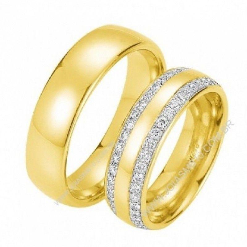 Detalhes do Produto  Par de alianças de casamento, ouro e noivado em ouro  amarelo 6cd1f500aa