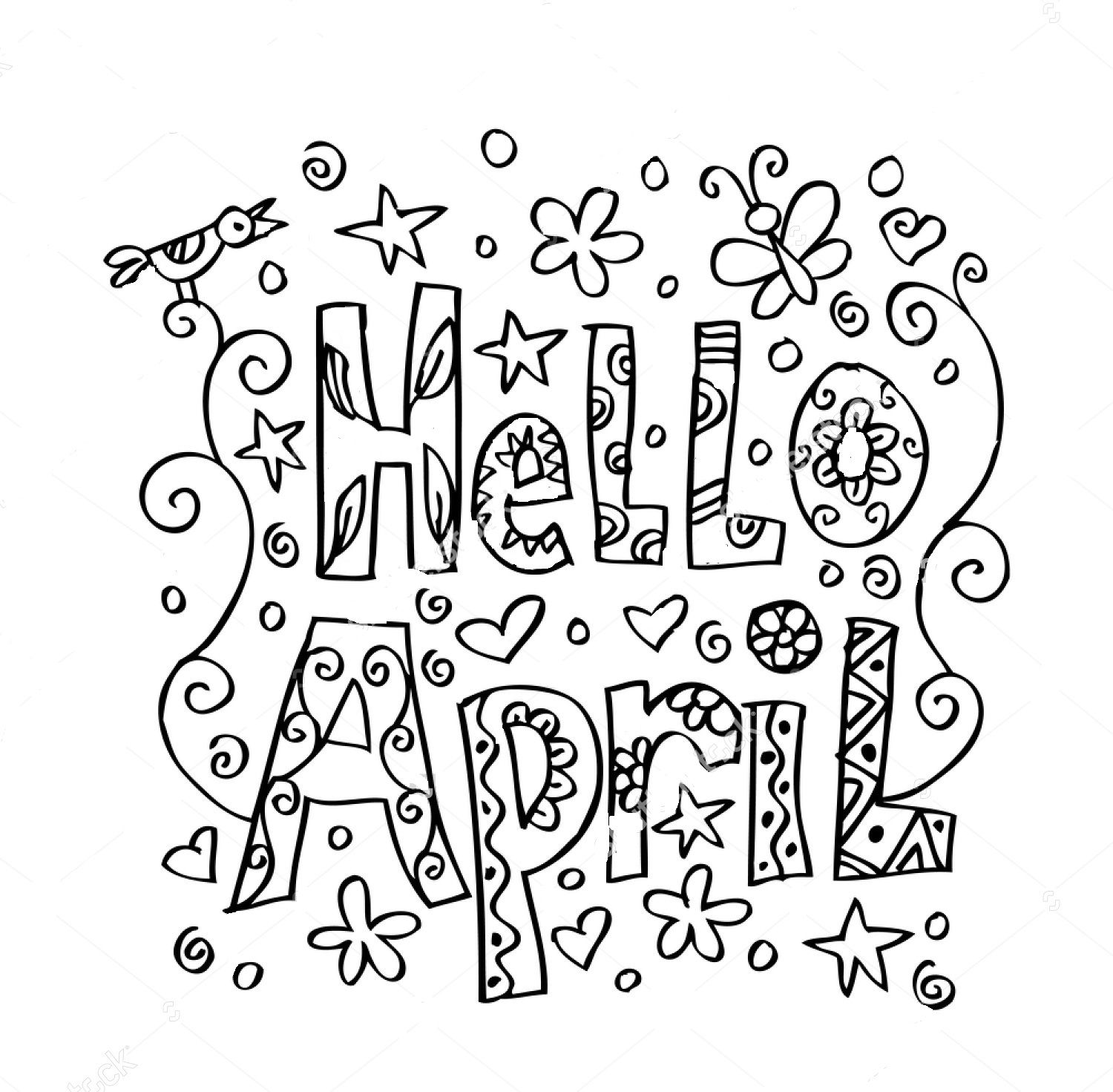 Hello April Zentangle Coloring Page Kids Printable Coloring Pages Quote Coloring Pages Tangled Coloring Pages