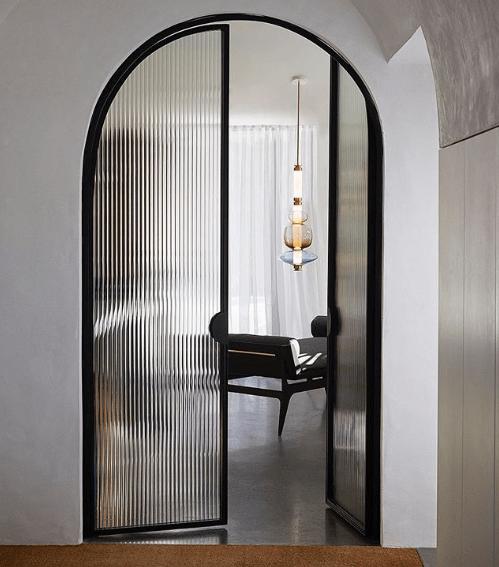 Gabriel Scott Lighting Coloured Glass Pendants Beyond Opened Ribbed Glass Door Door Glass Design Door Design Home Door Design