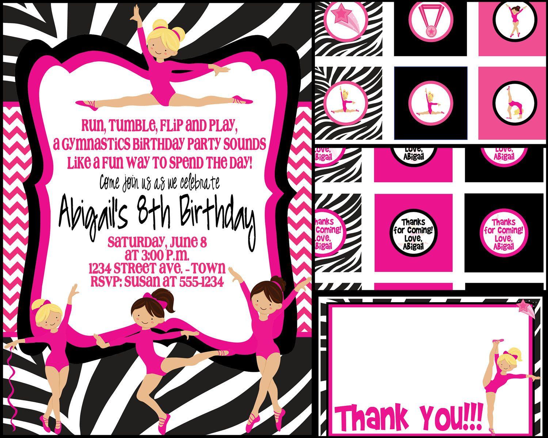 Zebra Gymnastics Birthday Party Invite with FREE by MouwDesigns ...