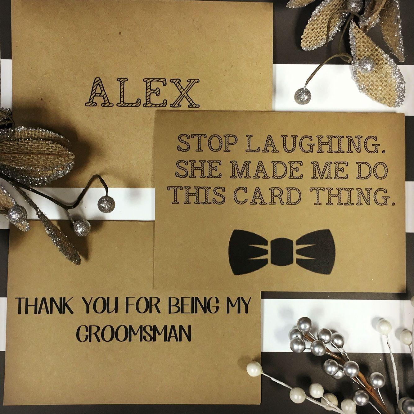 funny groomsman thank you card handmade with customizable