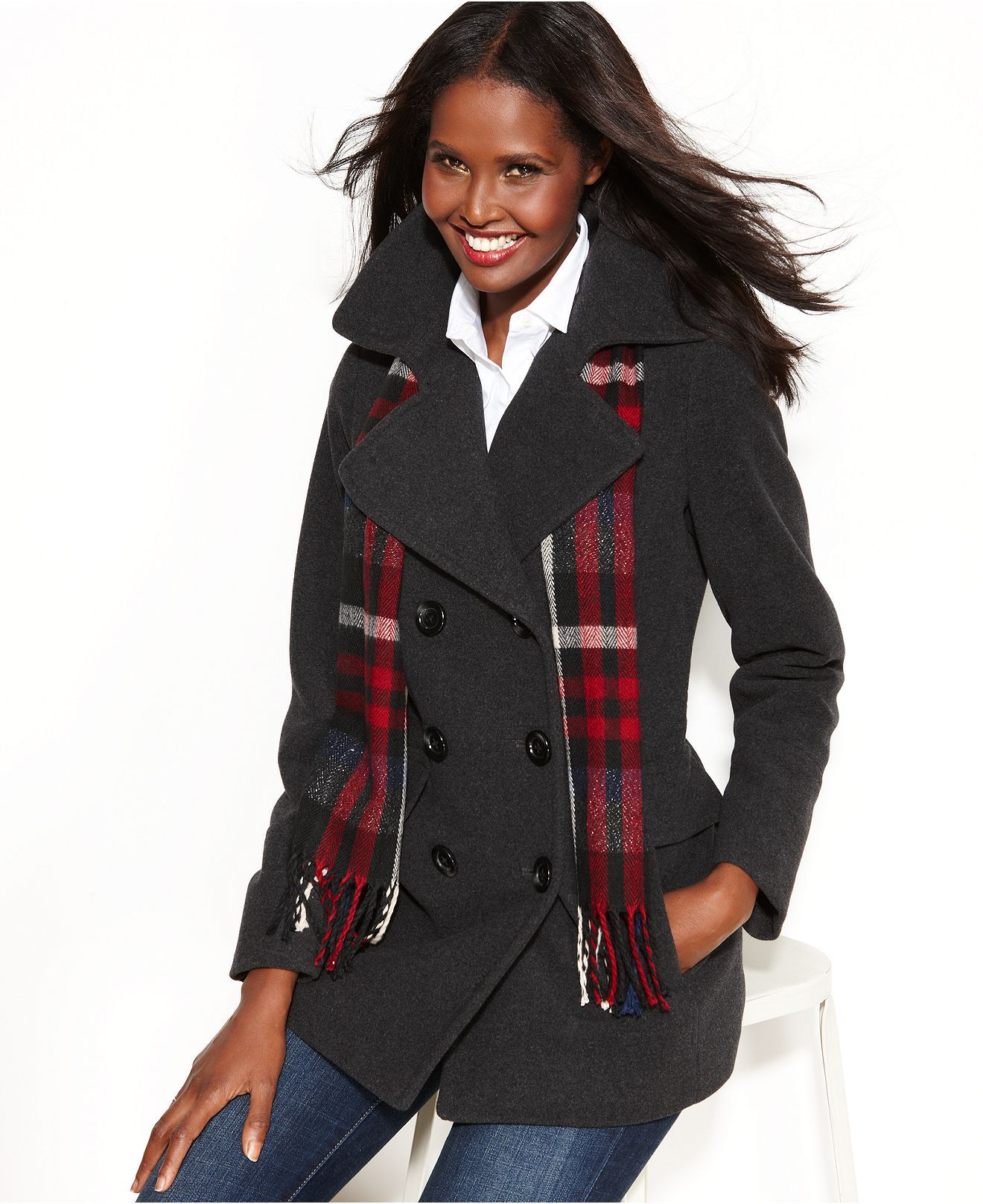 London Fog Coat, Double-Breasted Pea Coat & Plaid Scarf - Coats - Women - Macy's