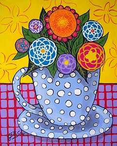 FLOWERS Blossom Cup Mug FLORAL BOUQUET Folk Art Original Painting 8x10 J ELLISON