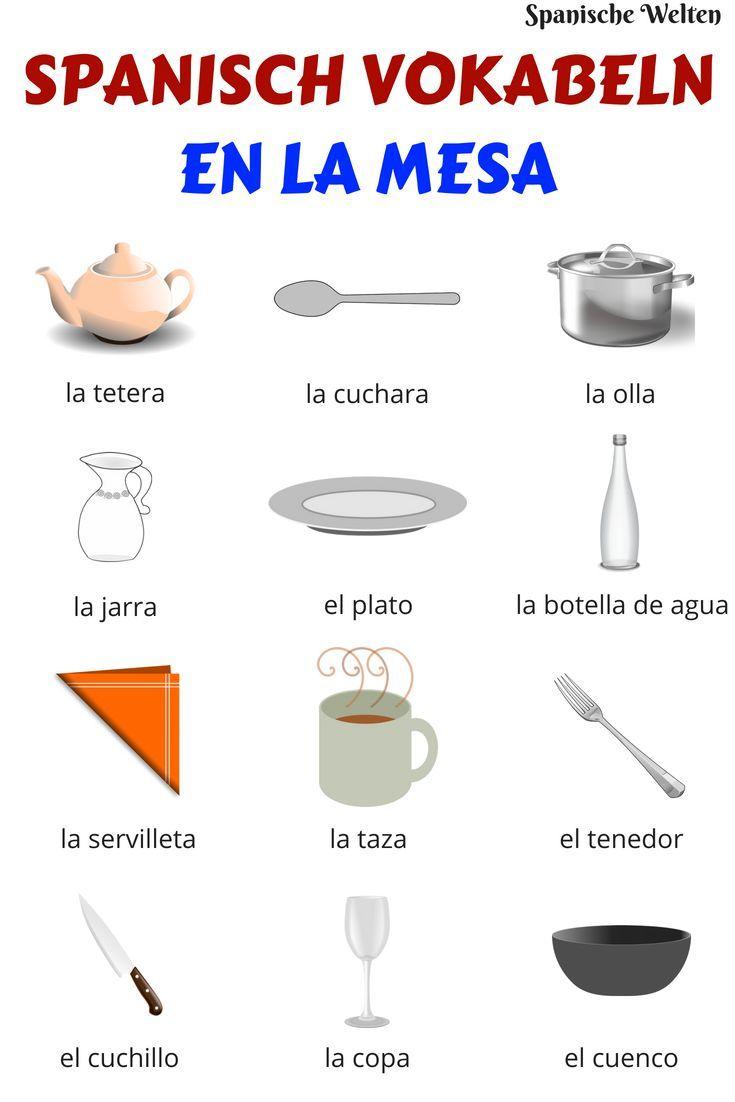 Spanisch Vokabeln: Auf dem Tisch #spanishmeals