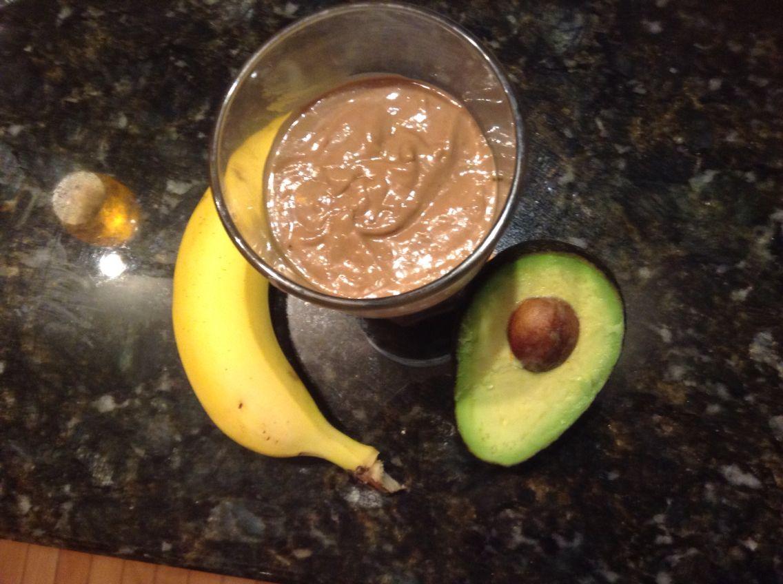 Chocolate avocado smoothie: banana, avocado, Nutella, peanut butter, and Greek yogurt.