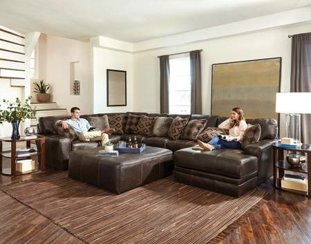 """Denali Collection 4378-62-30-76-1283-09/3083-09 163"""" 3-Piece Sectional with Left Arm Facing Section with Corner Armless Sofa and Right Arm Facing Chaise in Chocolate"""
