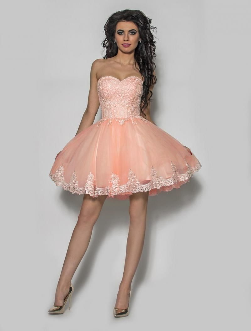 935a5fc986 Brzoskwiniowa piękna rozkloszowana sukienka Model  PW-2264  369.00zł  - Mini    Sukienki - Sklep internetowy - Sukienkimm.pl