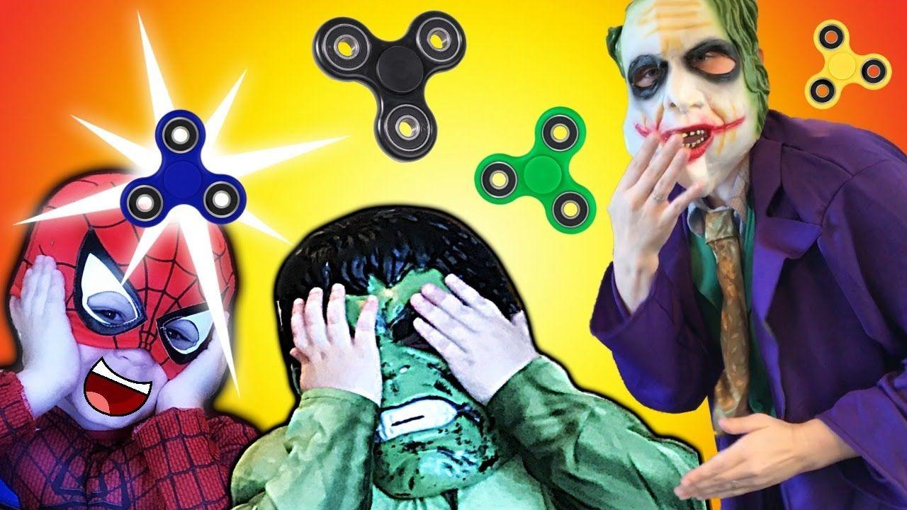Joker Vs Spiderman Vs Hulk Fidget Spinners Battle Real Life Hero Kids Movie Spiderman Vs Hulk Kid Movies Spiderman