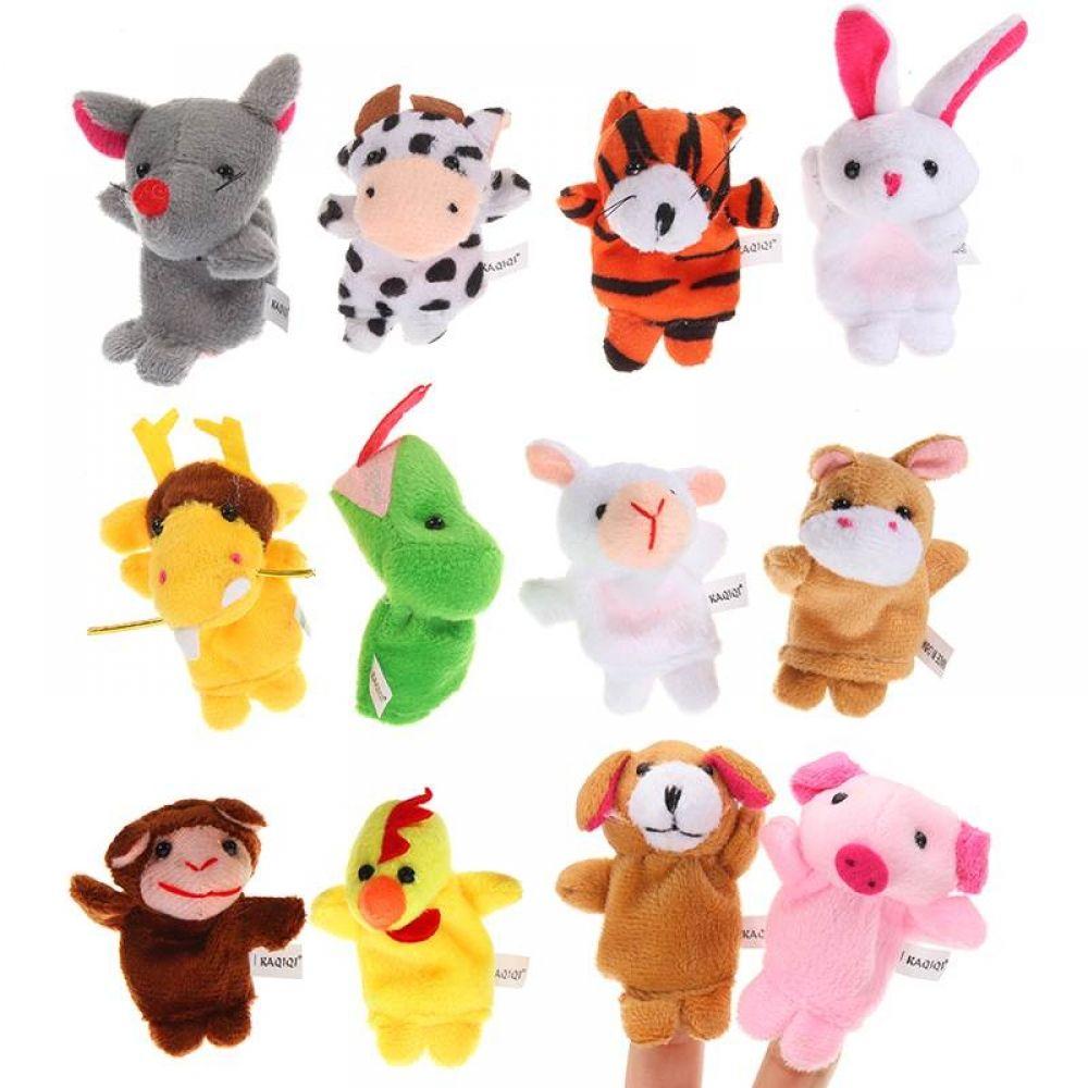 12Pcs/Set Chinese Zodiac Finger Puppets Animal Stuffed