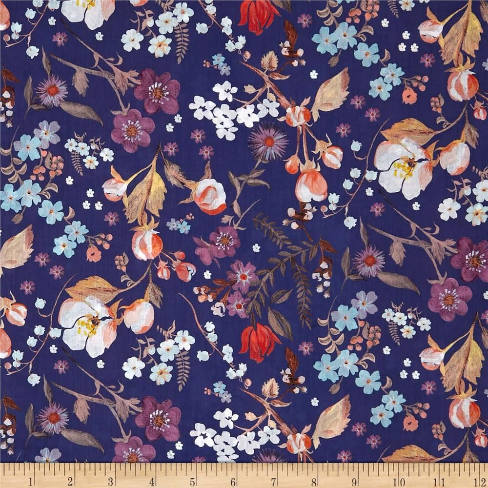 Liberty Fabrics Tana Lawn Heidi Blue Multi is part of lawn Background Liberty Fabric - From the world famous Liberty Fabrics, this exquisite cotton lawn fabric is finely woven, silky, very lightweight and ultra soft  This gorgeous fabric is oh so perfect for flirty blouses, dresses, lingerie, even quilting  Colors include taupe, shades of orange, coral, brown, white, purple and yellow on a navy background