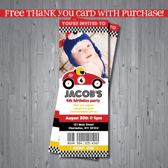 racecar ticket Birthday Invitation ticket party invitation race – Free Printable Race Car Birthday Invitations