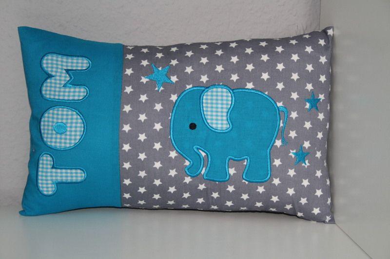 kissen elefant mit namen bestickt inlett babies. Black Bedroom Furniture Sets. Home Design Ideas