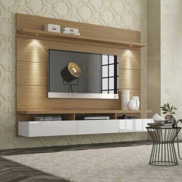 Painel Para Tv Polegadas Horizon Natural Off White Cm Cabinet Designtv Also  Amazing Home Theatre Images