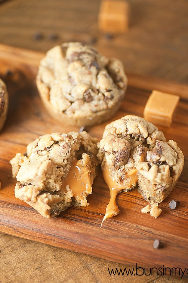 Look at the gooey, melty caramel center in these cookie cups!