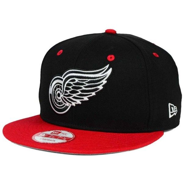 New Era Detroit Red Wings Black White Team Color 9FIFTY Snapback Cap ( 32) ❤ fe559660090b
