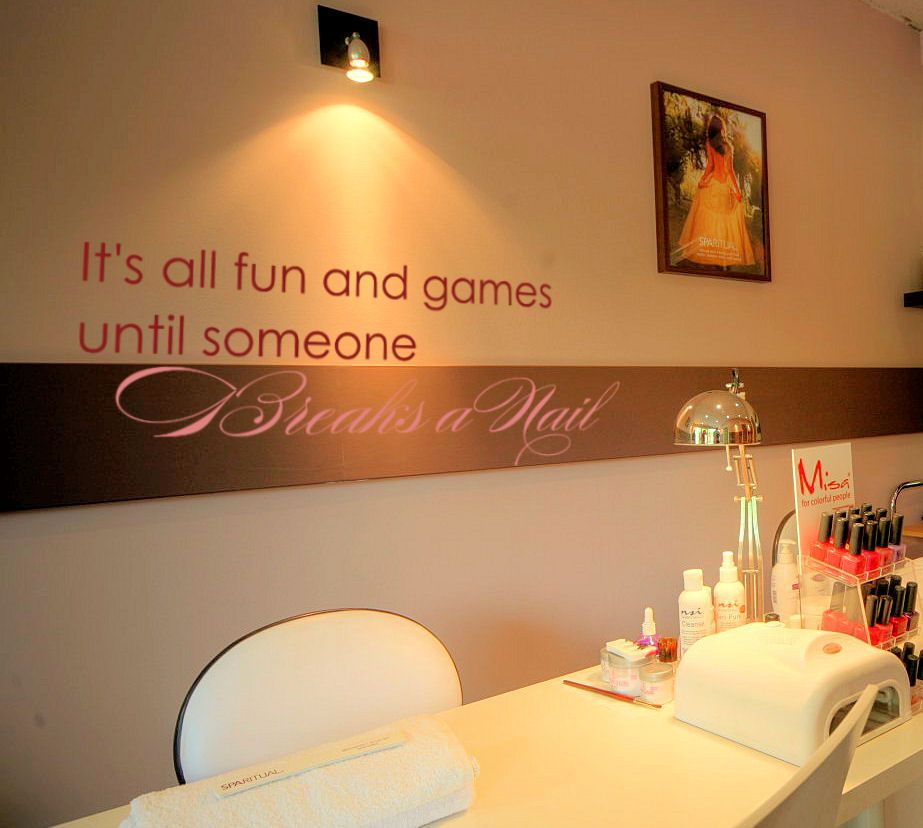 its all fun and games until someone breaks a nail i need this - Nail Salon Ideas Design