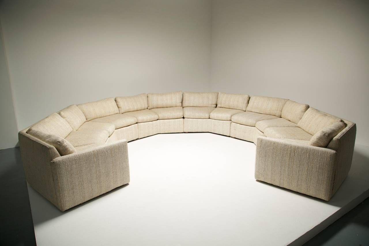 For sale on a large 6 piece mid century hexagonal shape sectional sofa