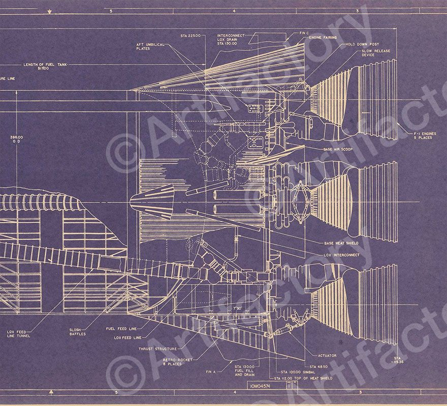 Nasa digital blueprint saturn v 1 72 scale c 880 for Blueprint scale