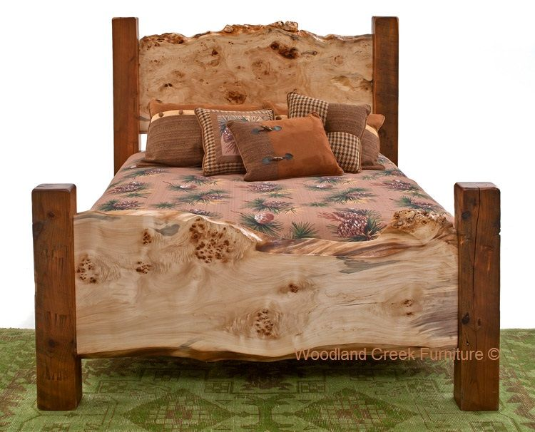 Barn Wood Bed With Live Edge Burl Slabs, Rustic Bed In