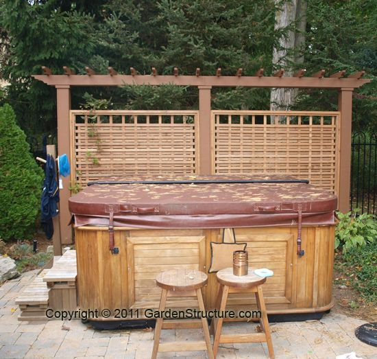 Hot tub privacy fence ideas call 1 888 293 8938 to order for Privacy screen for pool