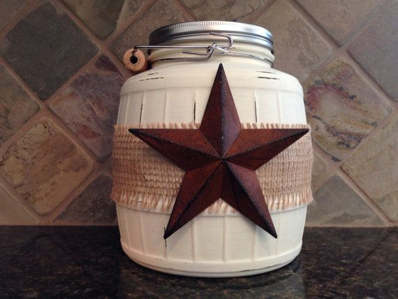 Rustic Cookie Jar Gorgeous Texas Star Cookie Jarjarabels On Etsy $3000  Jars Jars Inspiration Design