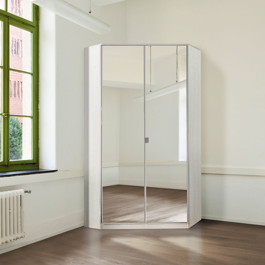 Armadio ad angolo Gamma con specchio  Bianco alpino