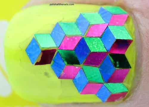 polishallthenails:  Geometric 3D glitter nails