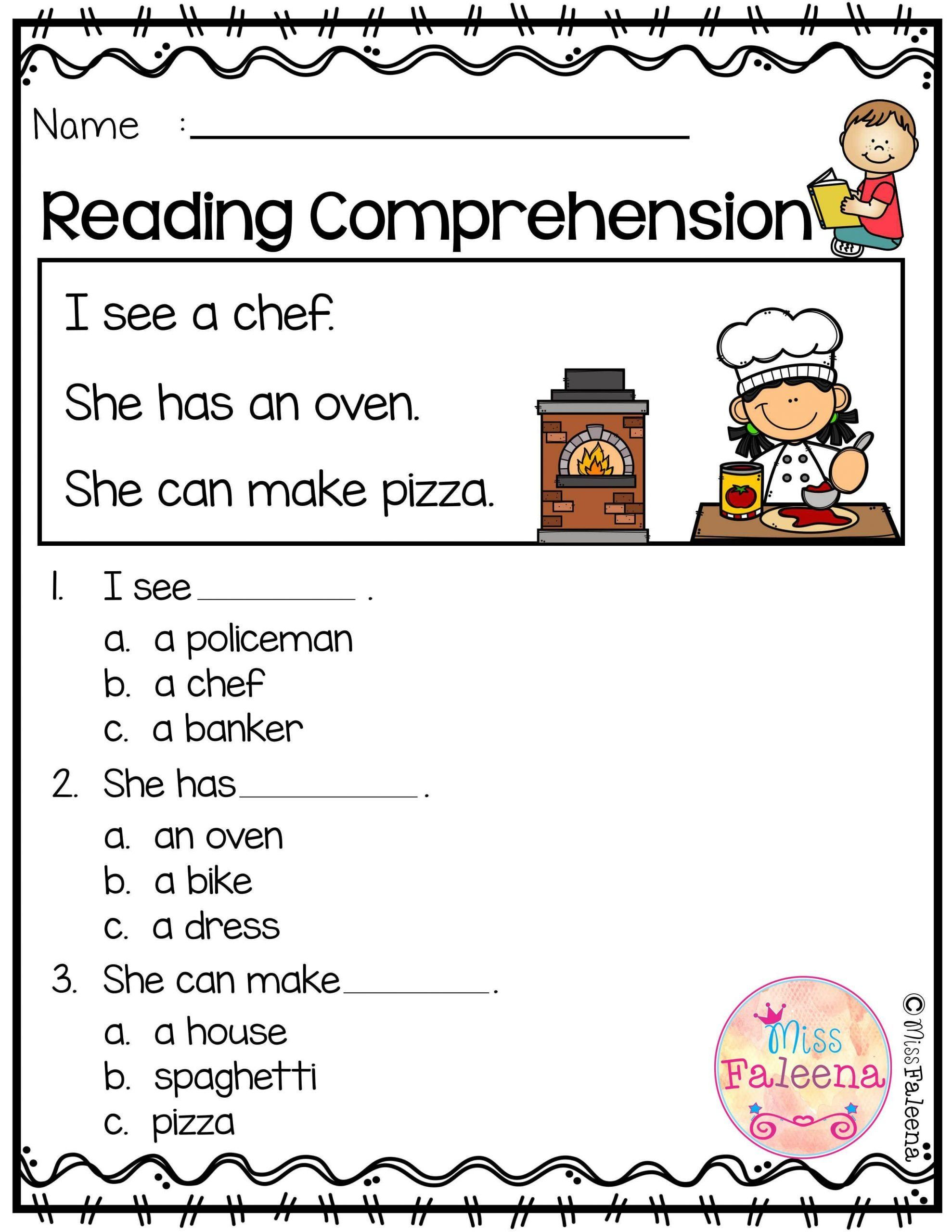 Reading Comprehension Kindergarten Worksheets Free Free
