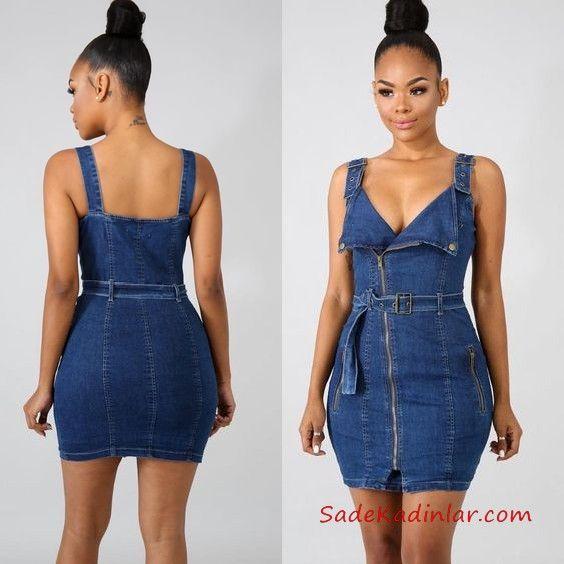 4ba8df199d9af Kot Elbise Modelleri Lacivert Kısa Askılı V Yaka Fermuarlı Kemerli #denim  #denimdress #jeans #jeandress #dresses #outfits #outfitoftheday  #outfitsfashion ...