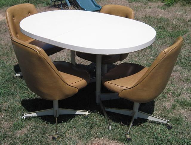 1960s 70s Dining Kitchen Table Chairs Set Vintage Retro Mod