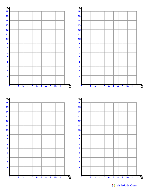 Worksheets Graphing Paper Using Math Points single quadrant graph paper four to a page math aids com page