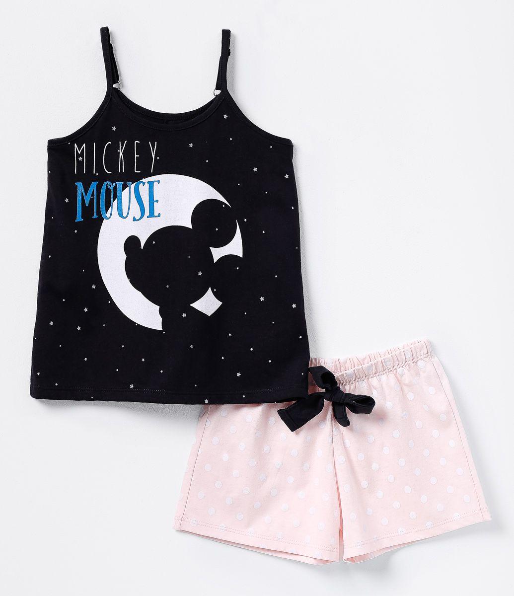 253f5556a1 Pijama infantil Curto Blusa com estampa Short poá Com amarração Marca…