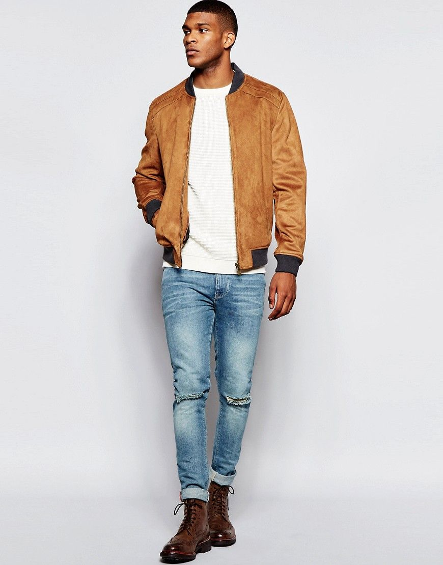 7a5fe3ff9 River Island Faux Suede Bomber Jacket In Tan | Jackets & Coats ...
