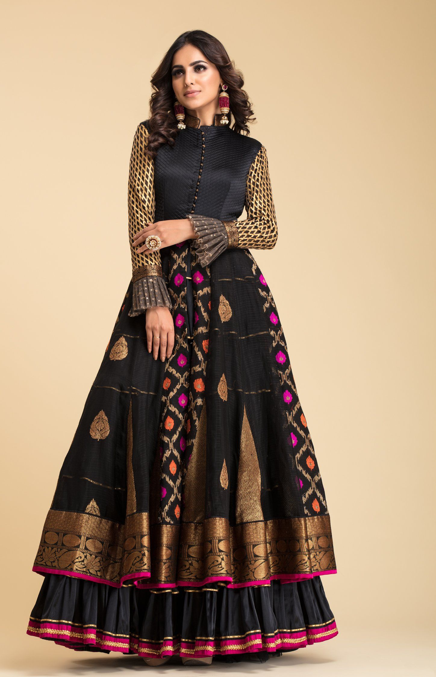 1eaa4e76878215 Black Banarsi Anarkali with quilt details on bodice and gota details on  sleeves and frills. Fabric  Heavy Satin   Jacquard