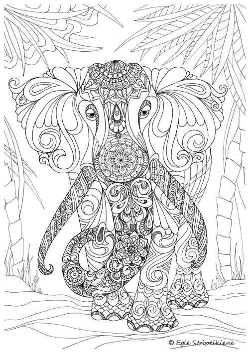 Coloring Page for Adults Elephant by Egle Stripeikiene. Size - A3 ...