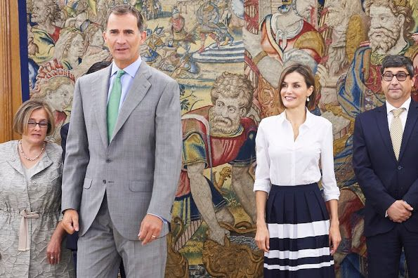 King Felipe and Queen Letizia of Spain attend the audiences of the general council of Once, the Adecco foundation, Executive Committee of the Union of Business Associations of the Spanish Cultural Industry and Fedicine, at Zarzuela Palace on September 2, 2015 in Madrid, Spain.
