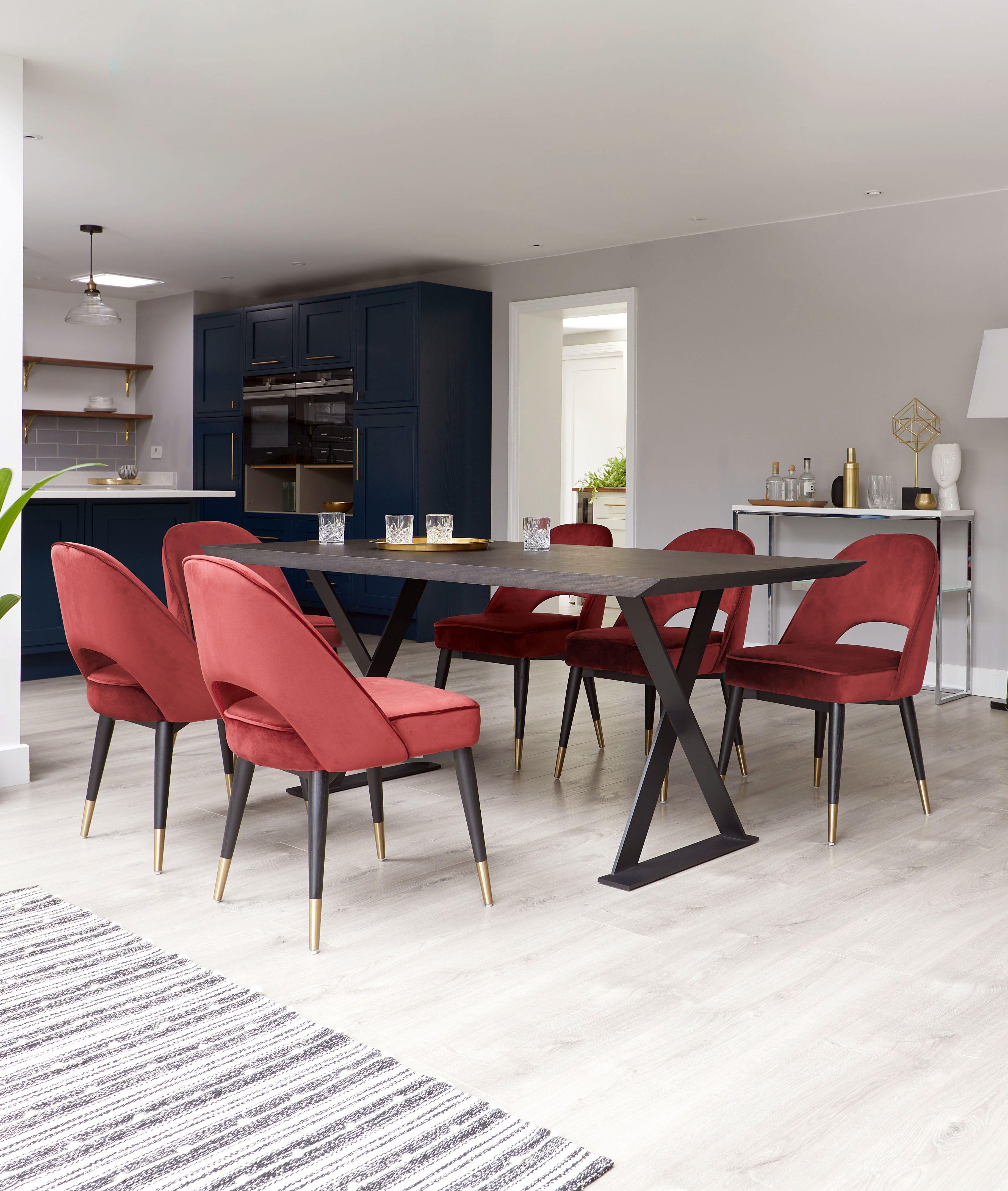 Terrific Clover Sapphire Blue Velvet Dining Chair In 2019 Dining Uwap Interior Chair Design Uwaporg