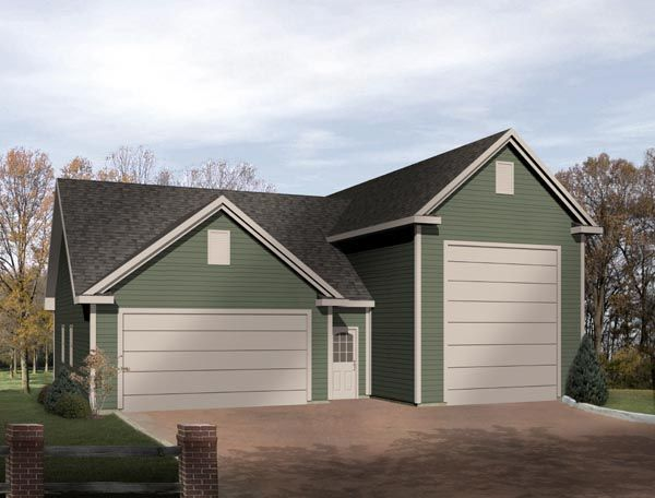 Traditional Style 3 Car Garage Plan Number 49031 Rv Storage Rv Garage Plans Rv Garage Garage Plans Detached