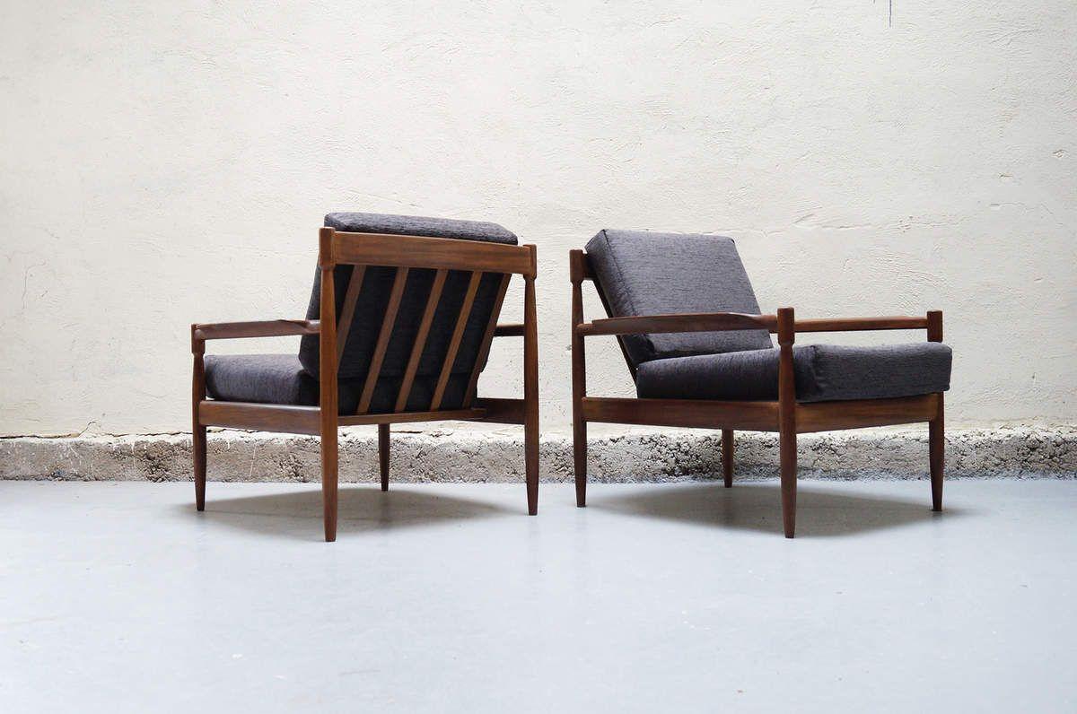paire-de-fauteuil-gris-scandinave-teck-vintage-design-annees-50-60 ...