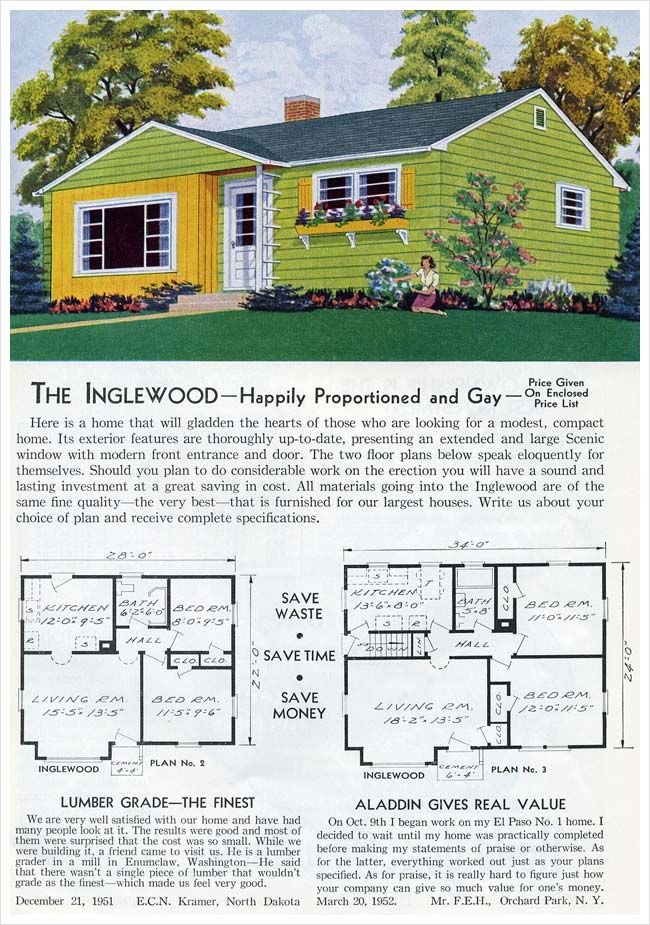1953 Aladdin Homes The Inglewood Vintage House Plans